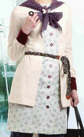 Gambar Model Baju Muslim Kantor Terbaru 2 - Ada Polkadotnya