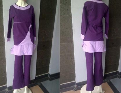 Koleksi Foto dan Contoh Model Trend Baju Senam Muslim 1 - warna ungu panjang