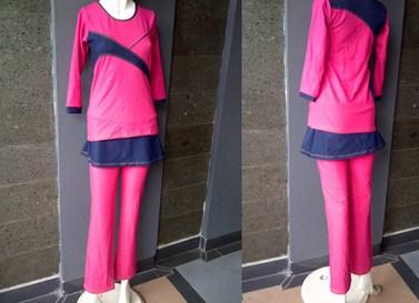 Koleksi Foto dan Contoh Model Trend Baju Senam Muslim 2 - Warna pink kombinasi