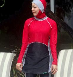 Koleksi Foto dan Contoh Model Trend Baju Senam Muslim 8 - Warna Merah dan Panjang